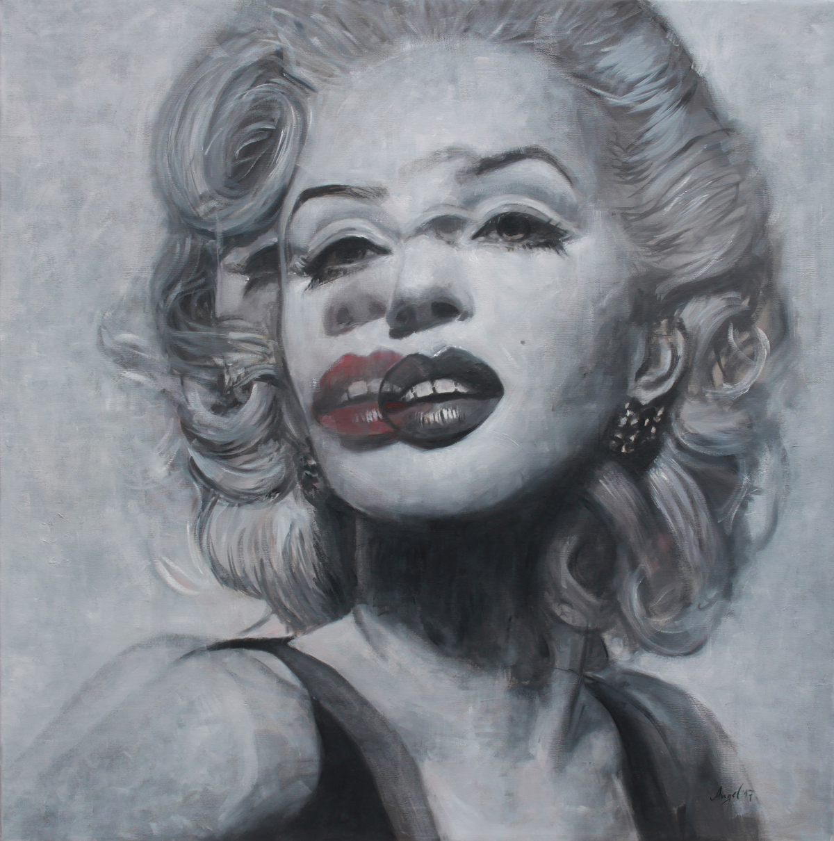 Angel Peychinov, Marilyn, 2017, oil on canvas, 100x100cm, presented by Galerie Barbara von Stechow