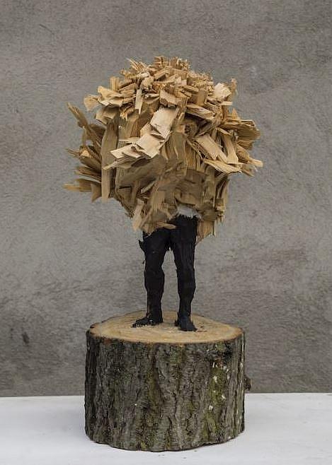 """Edvardas Racevicius, """"o.T."""", Linde, Acryl, 40-30-20cm , presented by Alte Bäckerei"""