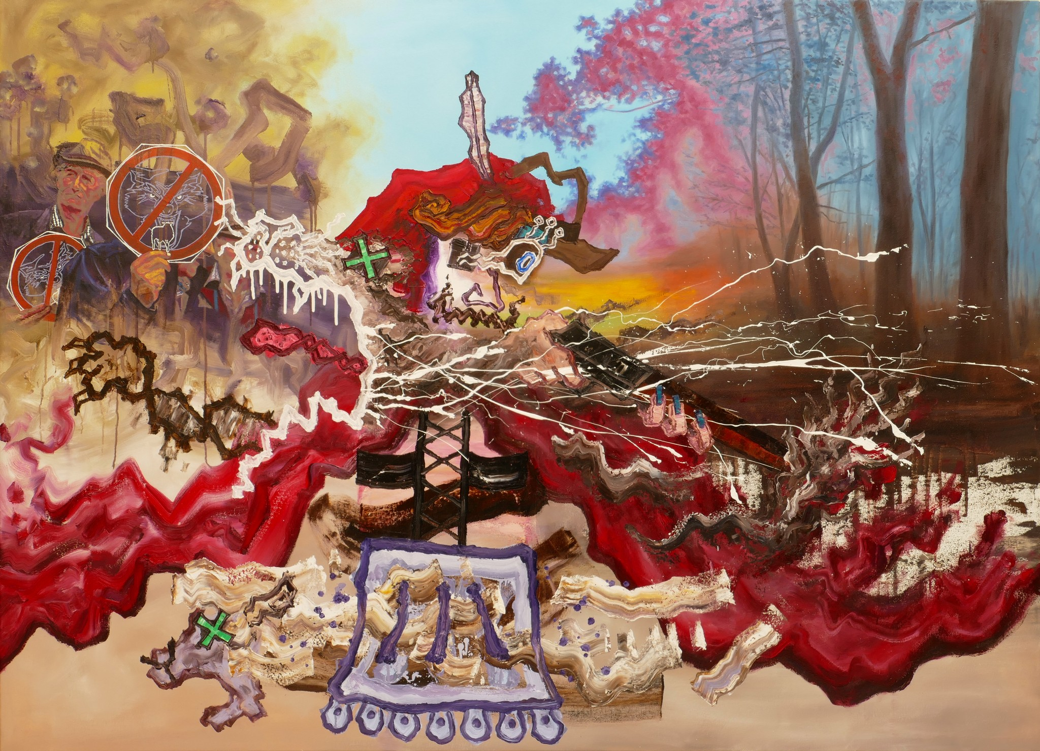 Ryo Kato, Kein Platz für Wölfe,Öl auf Leinwand, 130x180cm, presented by Galerie Bengelsträter