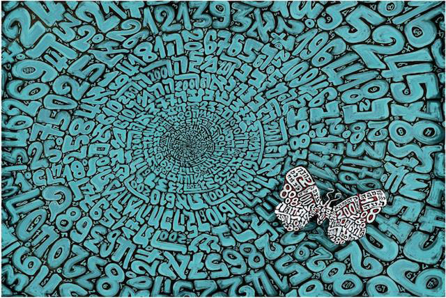 Tobia Rava's work combines elements of mathematics, Jewish symbolism and typography.