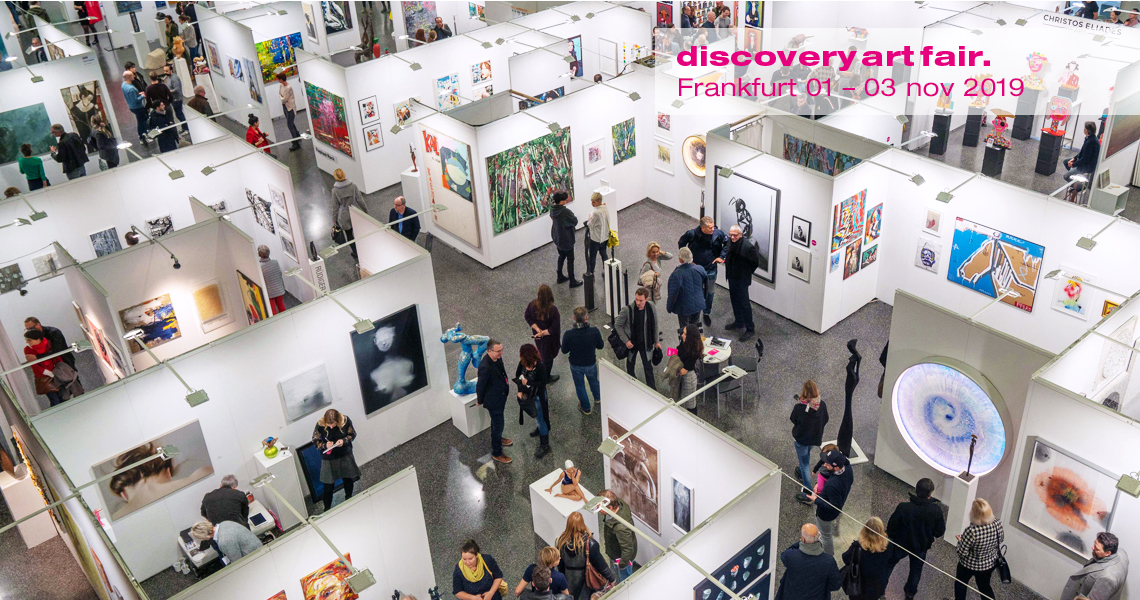 Visitors, collectors and exhibitors roam the discovery art fair in Frankfurt, one of two events focussed on affordable works for the German art market.
