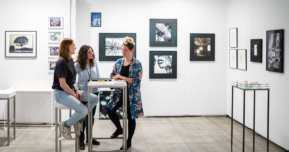 "Stall of gallery ""Atelier im Delta"" presenting photographic work by Valentina Jaffe and Hanna Moser during DAF Cologne. In 2019 they will present photography and contemporary art at Frankfurt."