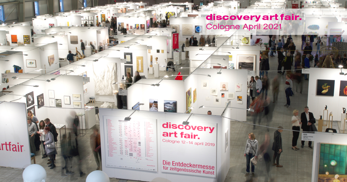 Exhibition hall at discovery art fair in Cologne.
