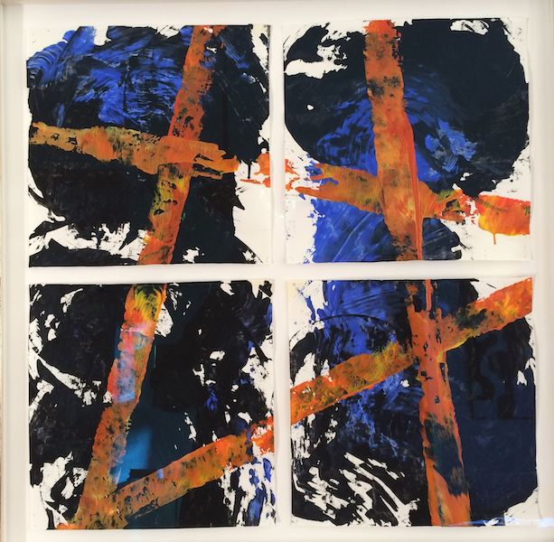 Brigitte Witzer - Beziehungen, 4 Einzelarbeiten, Acrylfarbe auf Papier, gerahmt, Conzen Blattweißgold, 9/2018 abstract art