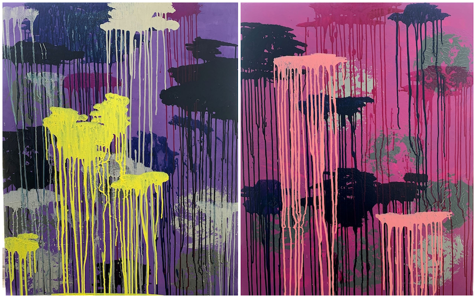Brigitte Witzer  -Regenwald 4 und 5, Acryl auf Leinwand/Keilrahmen; Hintergrund Monotypie, Vordergrund Pinsel; 4/2020 abstract art