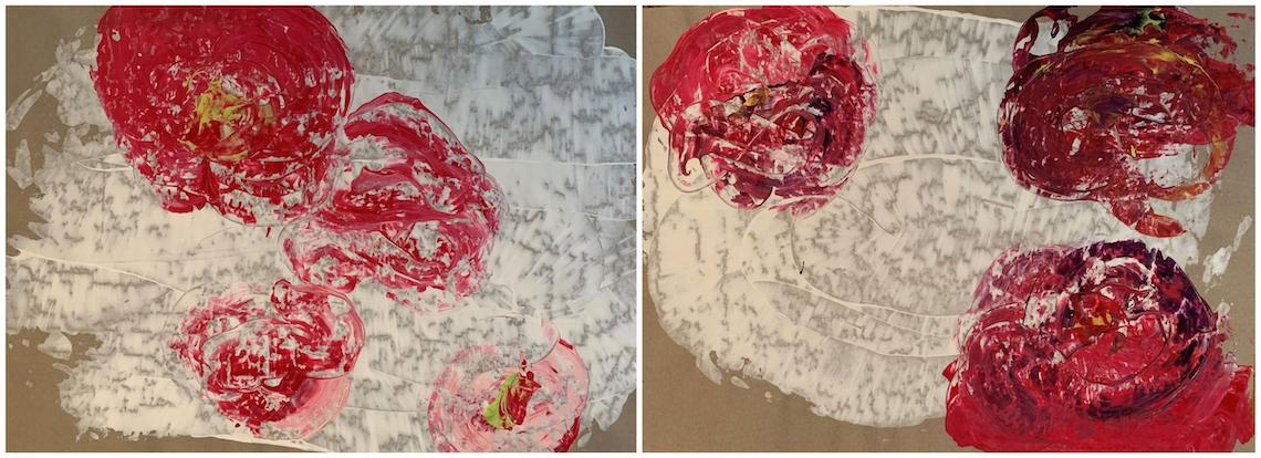 Brigitte Witzer - Rosenduft 1 und 2, Acryl auf Packpapier abstract art