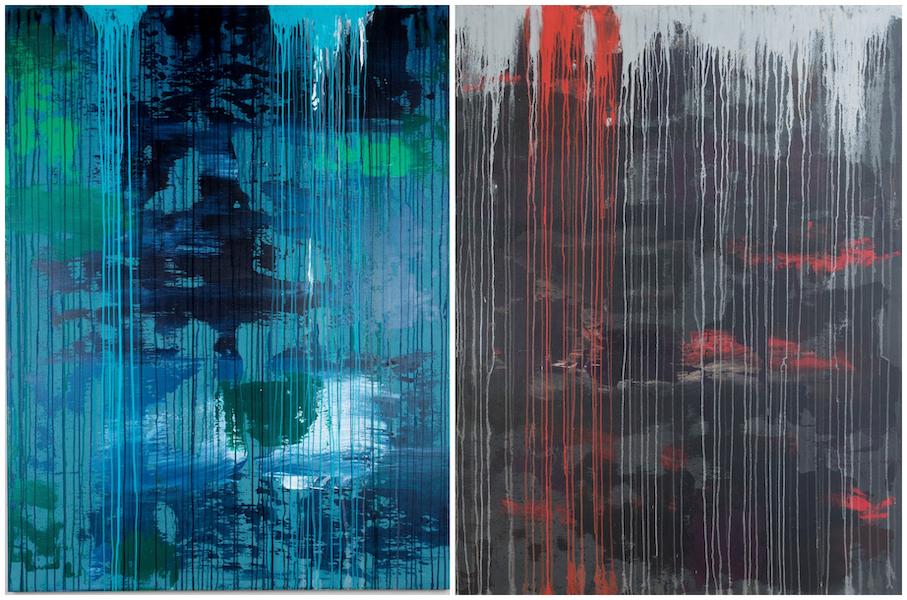 Brigitte Witzer - Auf-Lösung 1 und 2, Acryl auf Leinwand, Keilrahmen, Monotypie 7/2020 abstract art