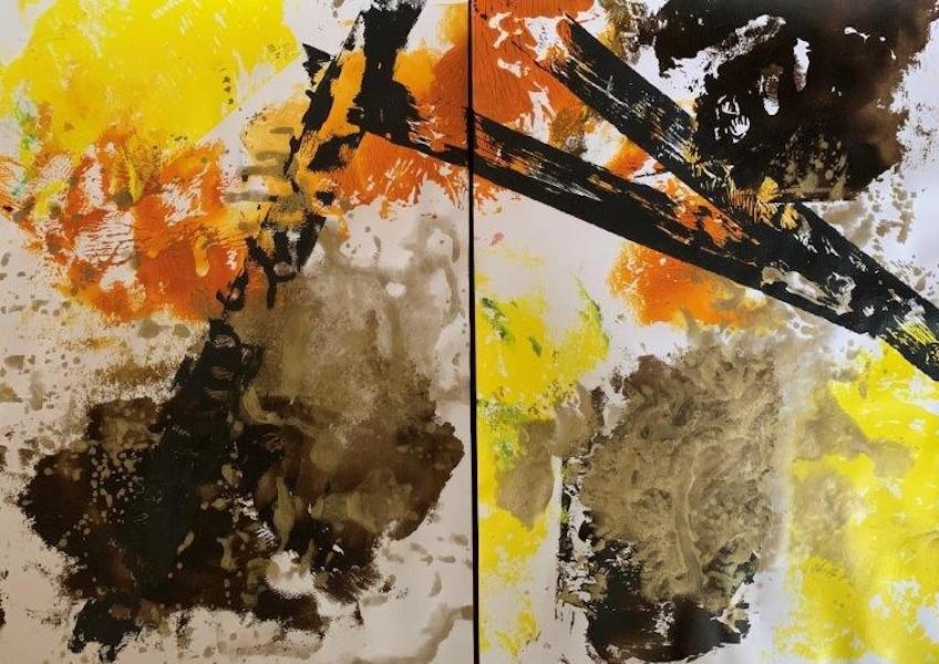 Brigitte Witzer - Promenadenmix Gelb, 2 Monotypien, jede auf 190 g/qm Papier in A2  abstract art