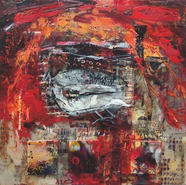Georg Brandner painting in red hues